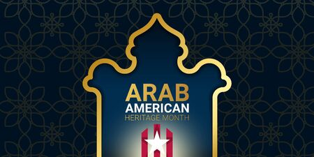 Arab American Heritage Month - April - banner template with the shape of a temple, star and stripes on dark background. Muslim identity and contribution of Arab Americans to culture and history.  イラスト・ベクター素材