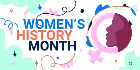Women's History Month banner with female face and gender sign, as the concepts of women's roles in world history.