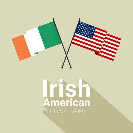 Irish-American Heritage Month - March - banner template with Irish and Stars and Stripes crossed flags, as a symbol of honor the contributions of Irish diaspora living in the United States on bright b