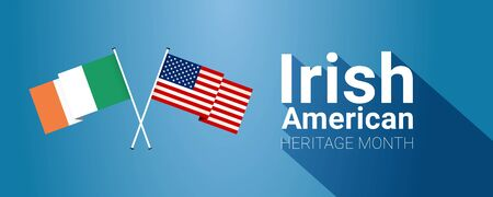 Irish-American Heritage Month - March - long horizontal banner template with Irish and USA crossed flags.