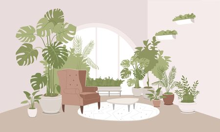 Light beige room decorated with pot plants on the floor and on walls.