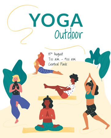 Vector poster template with women taking such yoga poses as boat, tree, cobra, warrior and burmese poses.