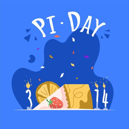 Pi 3,14 day vertical poster template. Annual celebration of the mathematical constant pi on March 14.