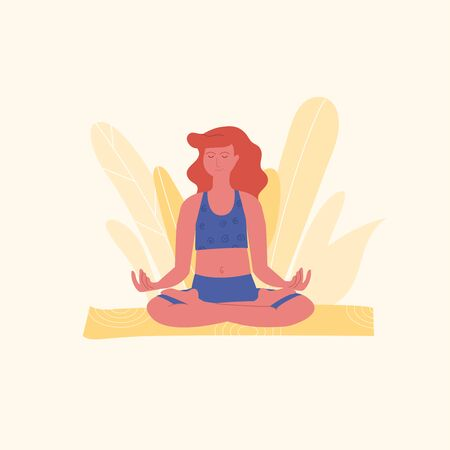 Red-haired woman is meditating in lotus pose or padmasana asana on yellow yoga mat. Yoga, stretching, pilates instructor. Physical activity as a way to relieve stress. Physical and mental health. Vettoriali
