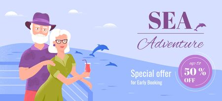 Two smiling senior spouses relax on the deck of a ship watching dolphins. Sea cruise banner template.