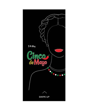 Cinco de Mayo or Fifth of May annual holiday vector social media story template.