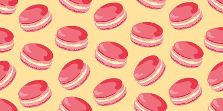 Vector seamless pattern with yummy macaroons as a template for packaging, textile and web elements.