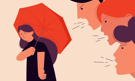 Victim blaming concept vector illustration with a girl trying to hide from her offenders under an umbrella. Low self-esteem. On the verge of depression people's condition. Distressing social problems