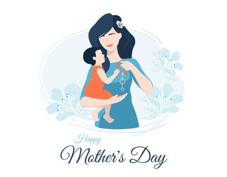 Happy Mothers Day colorful vector postcard template with cheerful mother collective image giving a rattle or carpal expander to her small daughter. Motherhood, maternal bonds and family holidays. Illustration