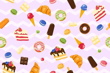 Vector seamless pattern with yummy macaroons, ice-cream, cake, chocolate, lollipop, donut as a template for packaging and textile. Cheat meal and sweet presents. Carbohydrates-rich energy-giving food. Ilustração