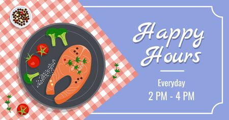 Dinner menu vector banner template with delicious fish, tomatoes, broccoli, sesame, pimento and herbs in a pan on checkered tablecloth. Healthy menu, keto-dieting. Advertisement, special offers.