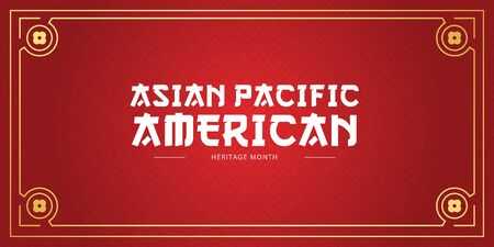 Asian Pacific American Heritage Month vector banner template with red background. Identity and heritage. Celebration the achievements and contributions of Asian and Pacific Islanders to world culture.