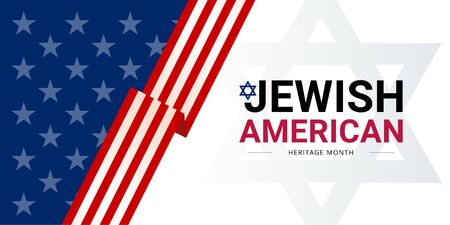 Jewish American Heritage Month - May - vector banner template with the USA flag and Star of David. Annual recognition and celebration of Jewish American achievements and contributions to the USA.