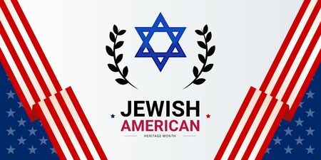 Jewish American Heritage Month vector banner template, decorated with the USA flags and Shield of David. Annual recognition and celebration of Jewish American achievements and contributions to the USA Vektorové ilustrace