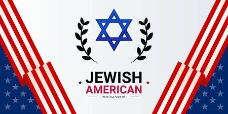 Plantilla de banner vectorial del mes de la herencia judía americana, decorada con las banderas de Estados Unidos y el escudo de David. Reconocimiento y celebración anual de los logros y contribuciones de los judíos estadounidenses a los EE. UU. Ilustración de vector
