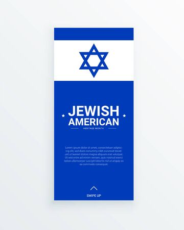 Jewish American Heritage Month vector social media story template with Shield of David on blue background. Annual recognition of Jewish American contributions to the USA. Identity and heritage.