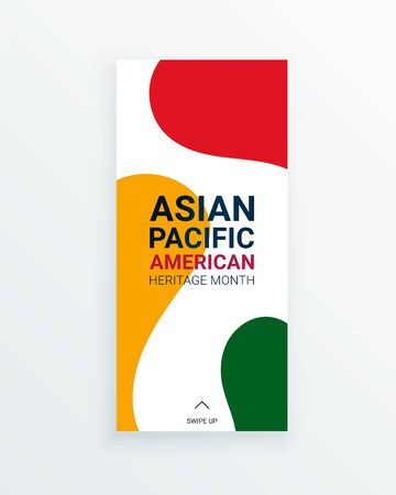 Asian Pacific American Heritage Month vector flyer template with red, yellow and green stains on white background. Celebration the contributions of Asian and Pacific Islanders to world culture.