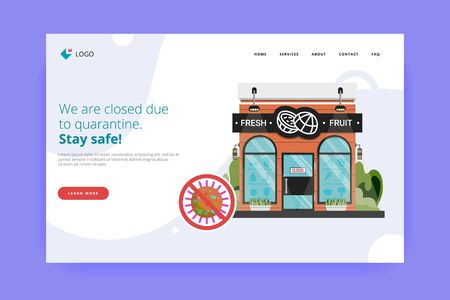 Fresh fruit shop closed for visitors announce orders to go, online, delivery under the door during COVID-19 quarantine. Storefront with closed sign website first screen. Stop corona virus infection. 版權商用圖片 - 143296700