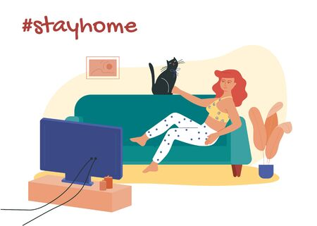 Girl lying on the sofa with her cat and watching movies. Stay at home hashtag vector illustration. Prevention of coronavirus infection during COVID-19 quarantine by self isolation. Illusztráció