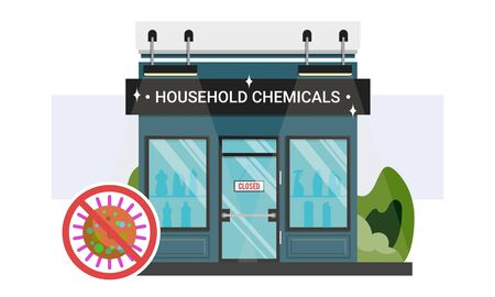 Household chemicals shop storefront with closed sign on the door. Stop corona virus infection spread not attending public places. Methods to avoid close contact with people during COVID-19 quarantine. 版權商用圖片 - 143296706