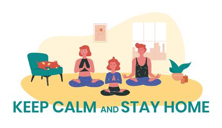 Red-haired girls doing yoga at home while their dog is sleeping near them. Keep calm and stay home vector illustration. Prevention of coronavirus infection during COVID-19 quarantine by self isolation