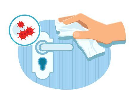 Toucher une poignée de porte dans un lieu public avec une serviette en papier en évitant le contact avec la surface.