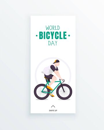 Social media story template with a guy riding a bike isolated on white. World bicycle day on June 3. Bicycle as a symbol of human progress and advancement. Sport and leisure. Outdoors activity.