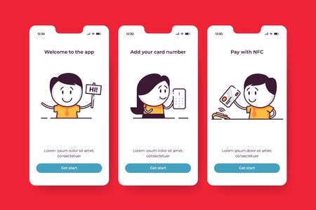 Financial mobile app onboarding screens. Welcome to the App, Add your card number, Pay with NFC. Cute characters to introduce fintech start up key features. Controlling costs and managing finance.
