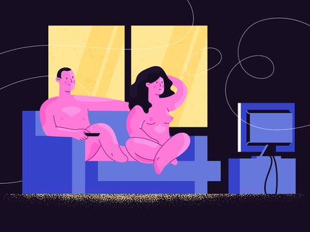 Nude man and woman watching TV show or online video streaming on a sofa. Happy nude couple relaxing at home. Harmony in love and sex relationship. Comfort and confidence. Body positive and acceptance.