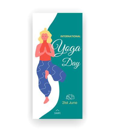 International yoga day - June 21 - social media story template with blond woman in tree pose or vrikshasana yoga asana.