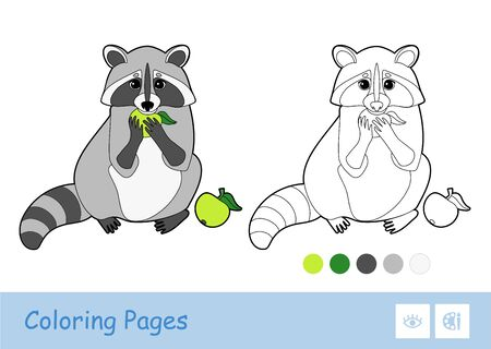 Colorful template and colorless contour image of the eating an apple raccoon isolated on white background. Wild animals preschool kids coloring book illustrations and developmental activity. Ilustración de vector
