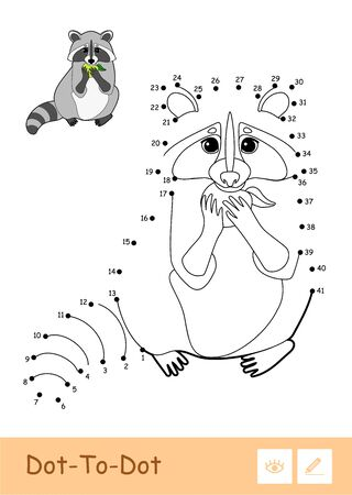 Colorful vector template and colorless contour dot-to-dot raccoon eating an apple isolated on white background. Wild animals preschool kids coloring book illustrations and developmental activity.