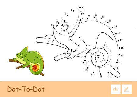 Colorless vector contour dot-to-dot image of a chameleon sitting on the branch isolated on white background. Animals-related preschool kids coloring book illustrations and developmental activity.