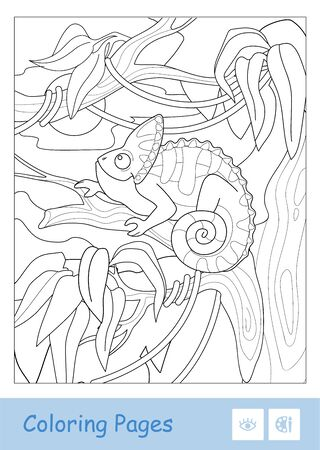 Colorless vector contour image of veiled chameleon sitting on the branch in a rain forest isolated on white. Animals-related preschool kids coloring book illustrations and developmental activity.