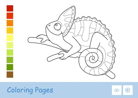 Colorless vector contour image of veiled chameleon sitting on the tree branch isolated on white. Animals-related preschool kids coloring book illustrations and developmental activity.