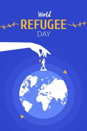 World Refugee Day on June 20 vertical poster template. Hand moving man silhouette around the globe.