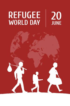World Refugee Day on June 20 vertical poster template. Globe map, family of man, woman and child leaving motherland.