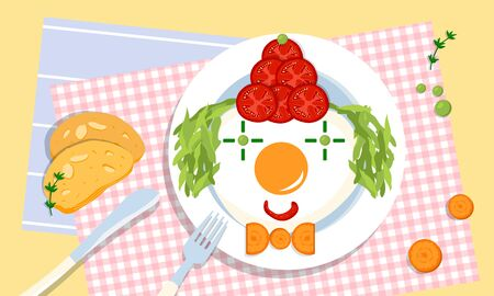 Cute edible clown on a plate, made of tomatoes, fried eggs, peas, salad and carrot by loving and creative parents for their children. Picky eating problem. Parenting challenges. Health and wellness.