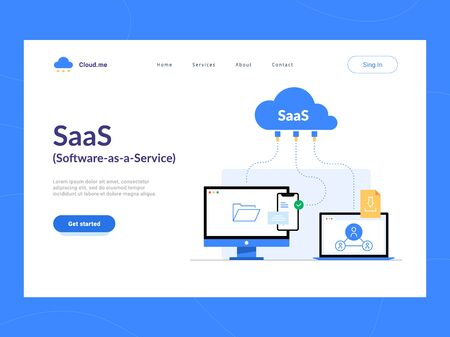 SaaS or Software as a Service landing page first screen. Remote online access to cloud application services scheme.