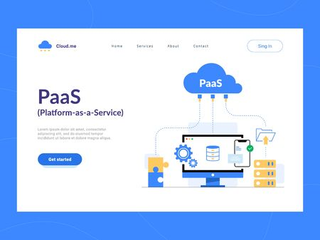 PaaS: Platform as a Service first screen. Cloud components for software, a framework to build customized applications.