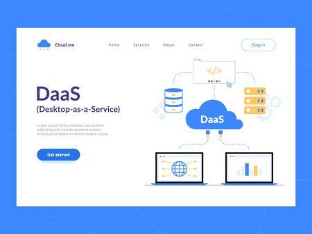 DaaS: Desktop as a Service landing page first screen. Virtual Desktop or Desktop Virtualization cloud computing scheme. Vektorové ilustrace