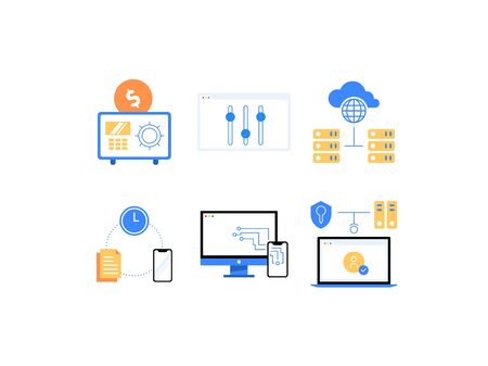 SaaS, PaaS, IaaS and other cloud computing services advantages flat icons: Saving Money, Easy Customization, Illustration