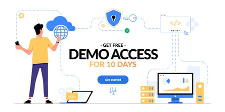 Get free demo access to SaaS, PaaS or IaaS promotional advertising banner. Man looking on cloud computing services scheme and get started CTA button isolated on white. Optimization of business process Vektorové ilustrace