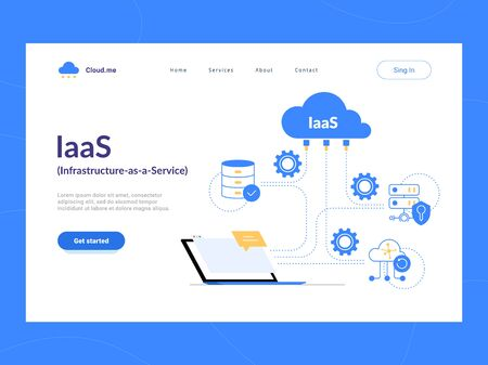 IaaS: Infrastructure as a Service first screen. Flexible cloud computing model. Virtual data center resources on demand. Illustration