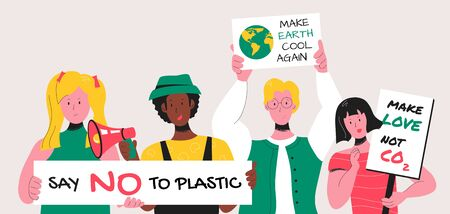 Young activists gathered at a demonstration with ecological posters for drawing attention to environmental issues like excessive use of plastic and rapid increase of carbon dioxide in the atmosphere.  イラスト・ベクター素材