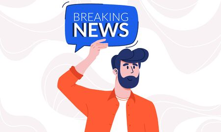 Young man with beard in casual shirt holding breaking news speech bubble under his head. Guy attracting attention to new information