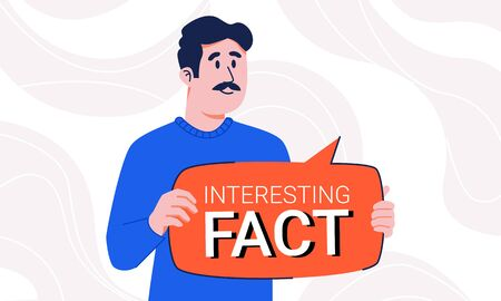 Man in sweater with mustache holding interesting fact speech bubble in his hands isolated on abstract background.