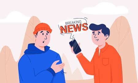 Man in shirt holding smartphone with breaking news notification bubble sharing information to shocked and stressed guy