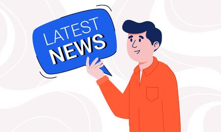 Young man with light smile in casual shirt holding latest news speech bubble in his hands. Guy attracting attention to new information