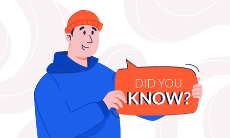 Surprised guy with light smile holding did you know speech bubble in his hands. Young man in hoodie and hat attracting attention to interesting facts  イラスト・ベクター素材